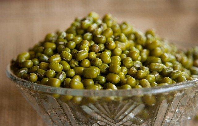 mungo fazole, skleněná miska